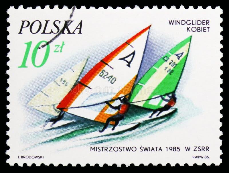 Windsurfing M, Tallinn, Palasz-Piasecka, sukcesy Polscy sportowowie w 1985 seria około 1986, fotografia royalty free