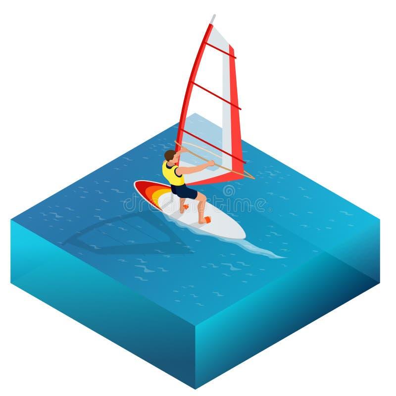Windsurfing, Pret in de oceaan, Extreme Sport, Windsurfing-pictogram, de vlakke 3d vector isometrische illustratie van Windsurfin stock illustratie