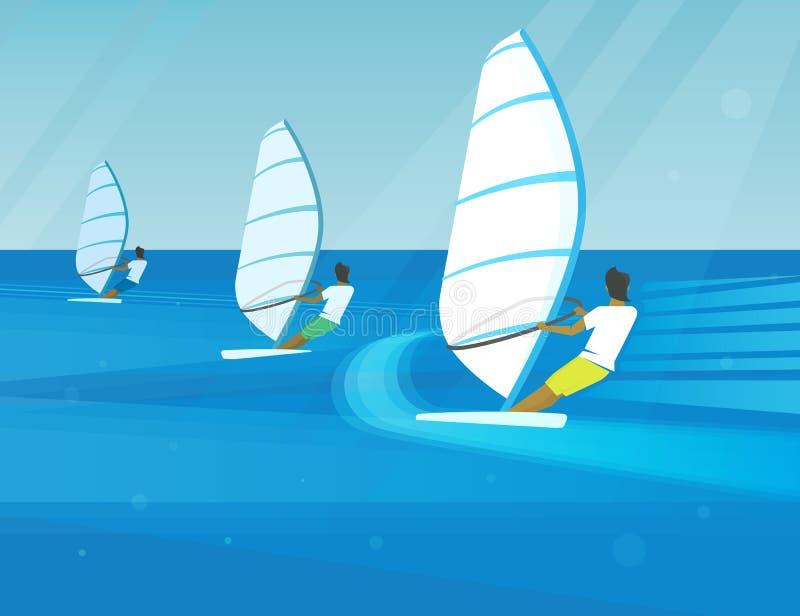 Windsurfing rywalizacja ilustracja wektor