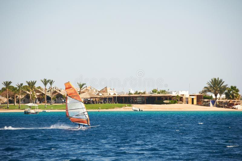 Windsurfing sail on the blue sea against coast royalty free stock image