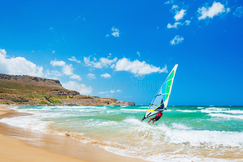 Windsurfing on the sea coast royalty free stock photos