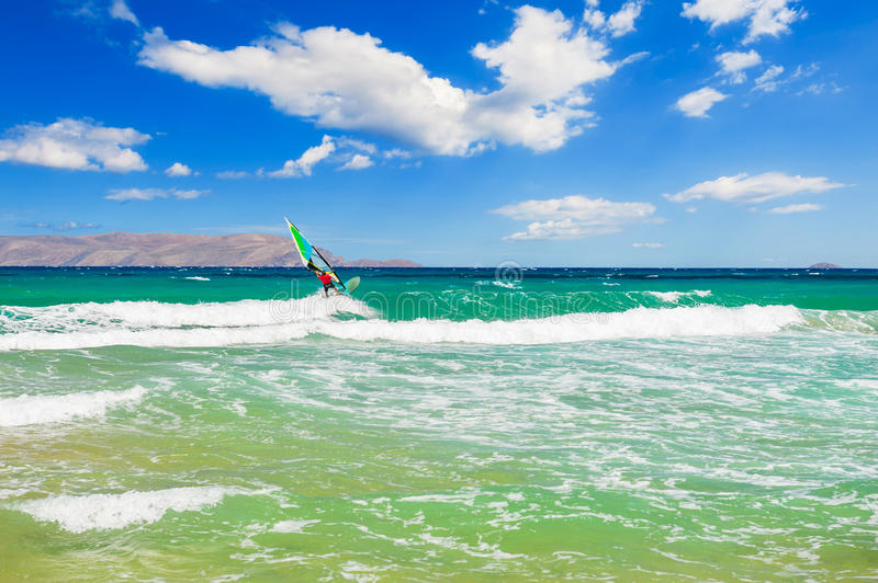 Windsurfing on the sea coast. royalty free stock image