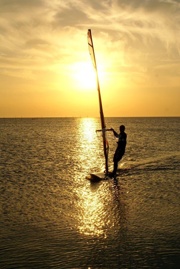 Windsurfing and sun. Sunset on the Azov sea near Dolshanka, south Russia royalty free stock image