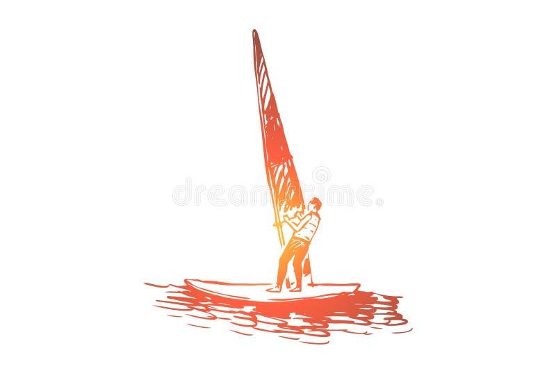 Windsurfing, woda, morze, lato, sporta pojęcie Ręka rysujący odosobniony wektor ilustracja wektor
