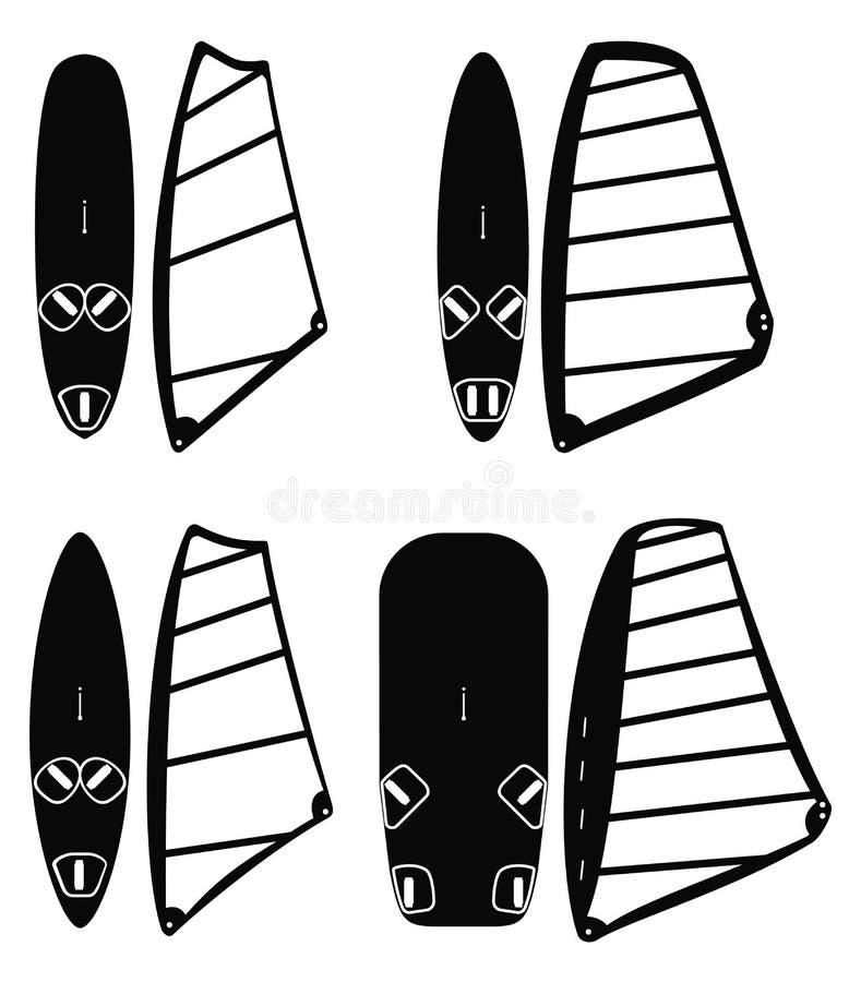 Windsurfing wsiada wektoru set i żegluje royalty ilustracja