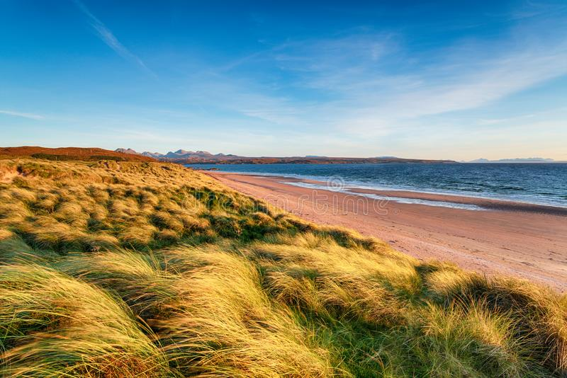 Windswept sand dunes at Big Sand Beach at Gairloch stock image