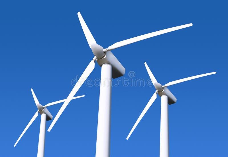 Windturbine auf blauem Himmel stockfotos