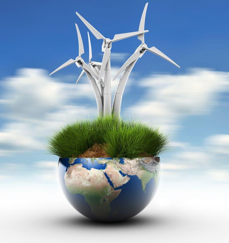 Windturbine en Aarde stock illustratie