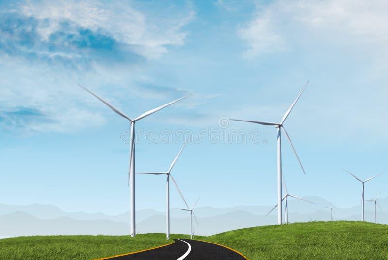 Windturbine met blauwe hemel stock afbeeldingen