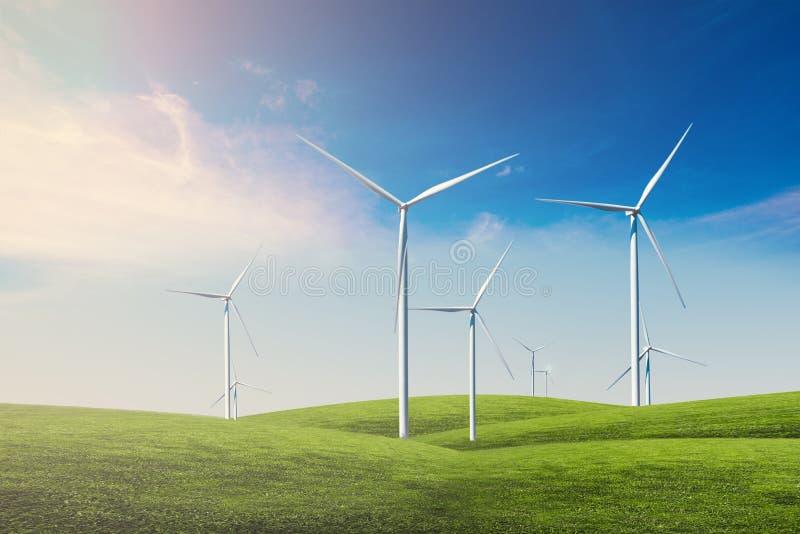 Windturbine met blauwe hemel stock afbeelding