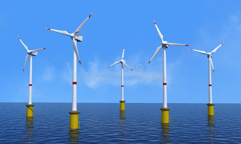 Windturbine Offshore stock abbildung