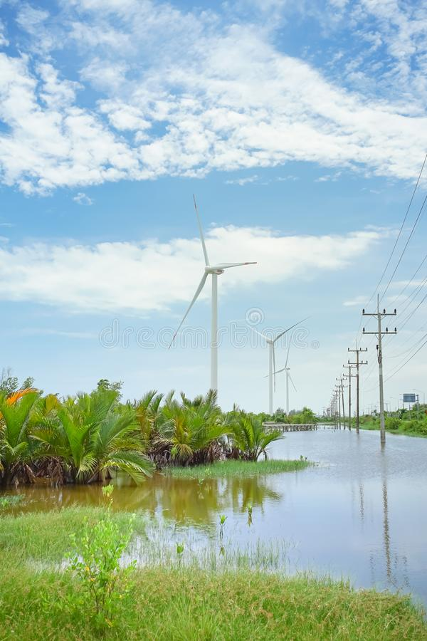Windturbine in Pak Phanang, Nakhon-Si Thammarat, Thailand royalty-vrije stock afbeelding
