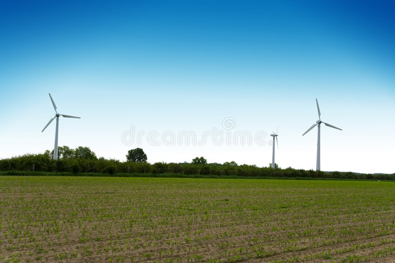 Windturbinebauernhof. Quelle der alternativen Energie. stockfoto