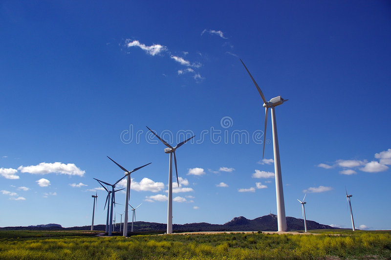 Windturbinefeld lizenzfreies stockbild