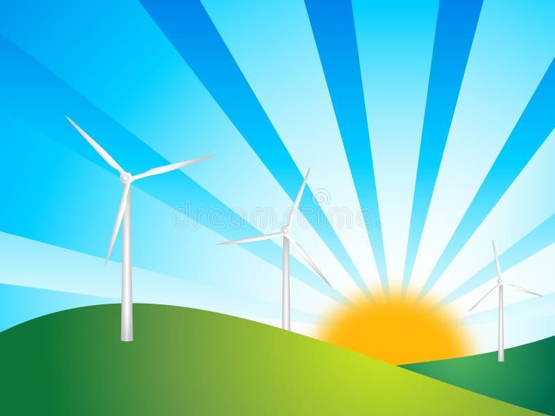 Windturbinen auf grünem backgro stock abbildung