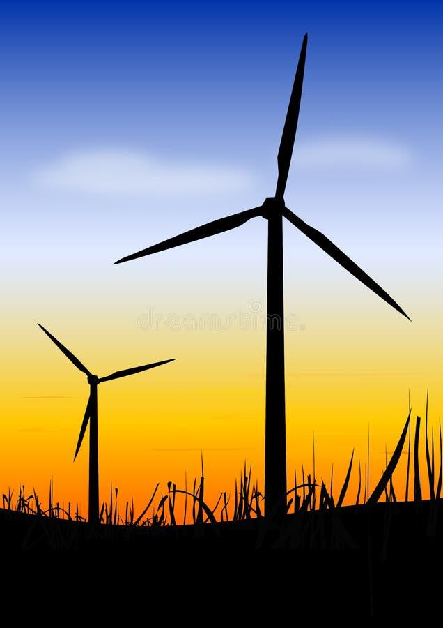 Windturbinen auf Sonnenuntergang lizenzfreie abbildung