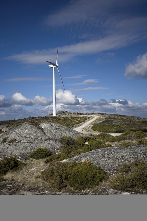 Windturbinen, auswechselbare elektrische Energie produzierend stockfotografie
