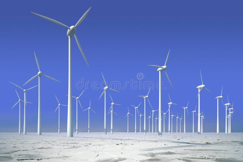 Windturbinen in gefrorenem Wasser stockfotografie