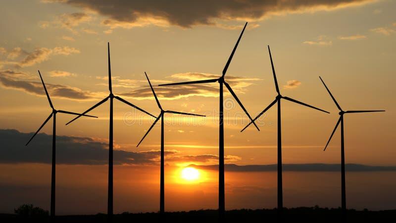 Windturbinen, gelbes Feld stock abbildung