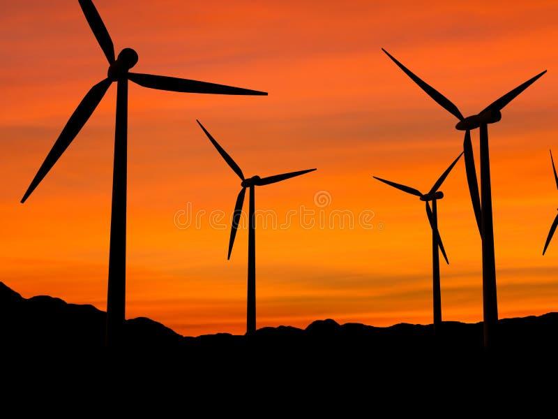 Windturbinen in Sonnenuntergang 1 vektor abbildung