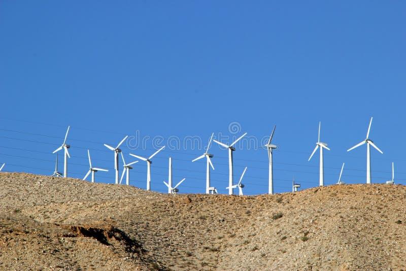 Windturbines in Coachella-Vallei in Californië stock afbeelding