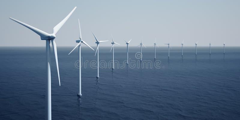 windturbines d'océan illustration de vecteur