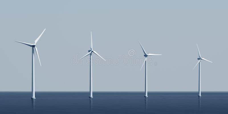 windturbines d'océan illustration stock