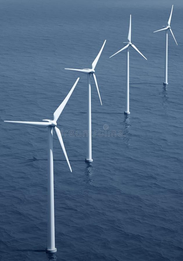 windturbines d'océan illustration libre de droits