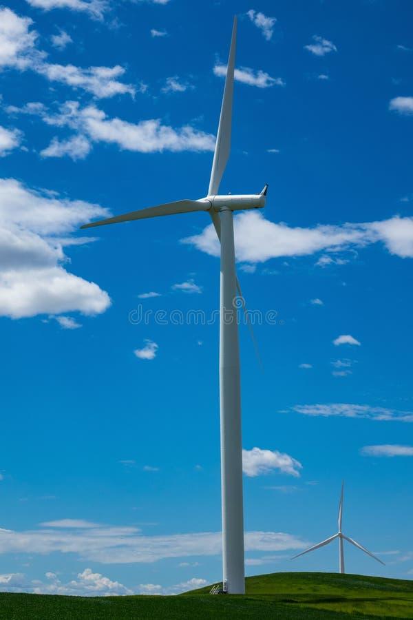 Windturbines en tarwegebieden in Oostelijk Oregon stock foto