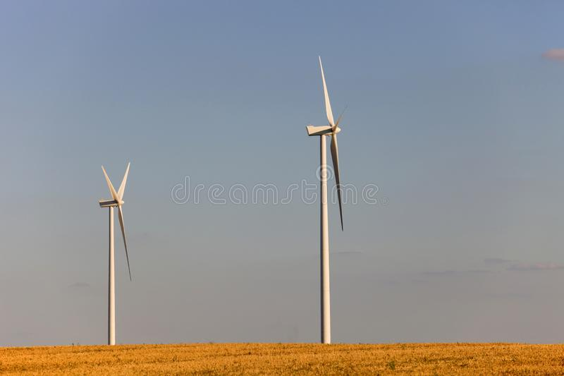 Windturbines. Farm of windturbines in the north of France royalty free stock image