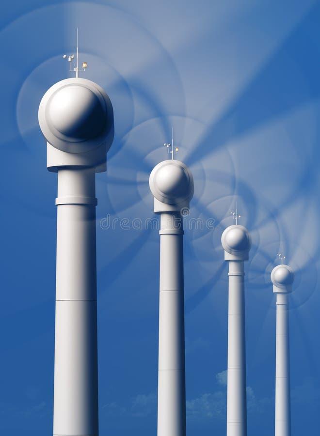 Windturbines in motie van de voorzijde vector illustratie