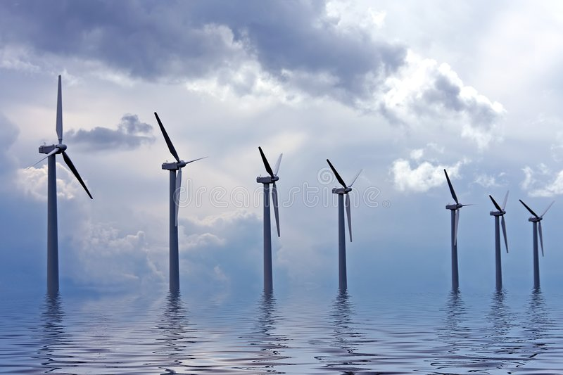 Windturbines in the Netherlands stock images