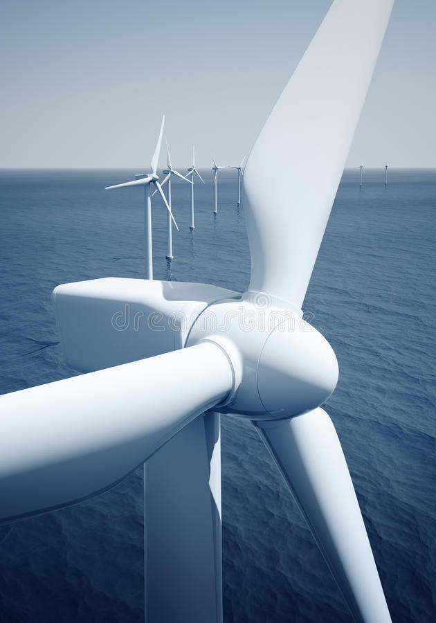 Download Windturbines on the ocean stock illustration. Image of mill - 10302596