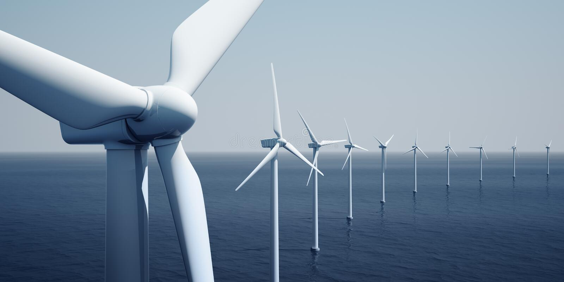 Windturbines on the ocean royalty free illustration