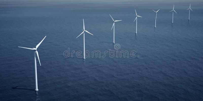 Windturbines op de oceaan vector illustratie