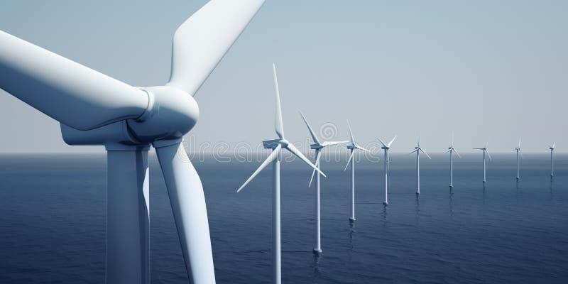 Windturbines op de oceaan royalty-vrije illustratie