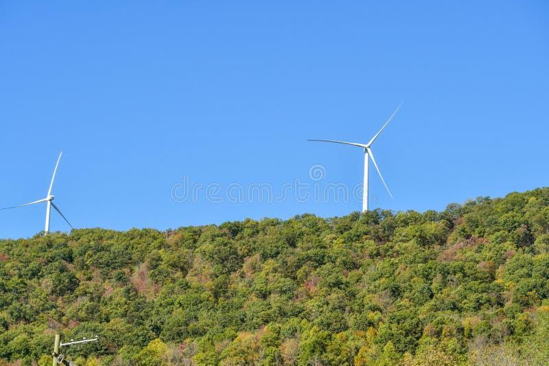 Windturbines op een beboste heuvel en een blauwe hemel stock foto