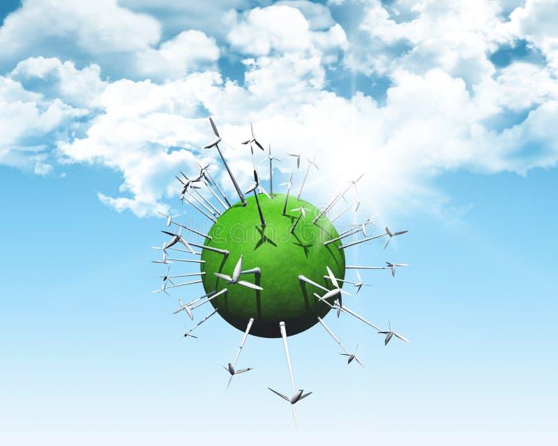 Windturbines op een grasrijke bol royalty-vrije illustratie