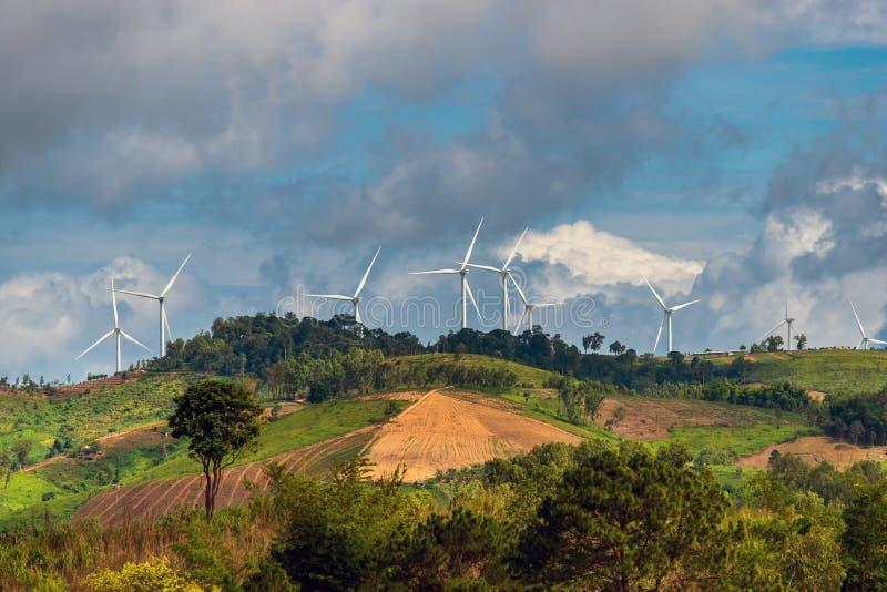 Windturbines op zonnige ochtend stock fotografie