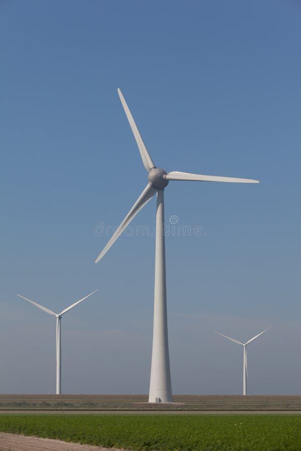 Windturbines produzindo a energia alternativa imagem de stock