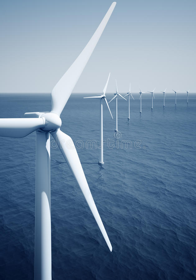 Windturbines sur l'océan illustration libre de droits