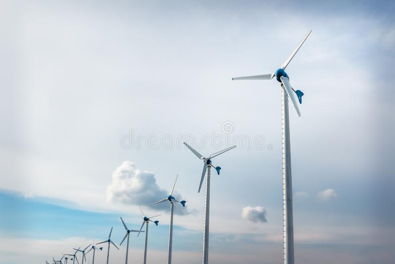 Windturbines voor elektriciteit royalty-vrije stock afbeelding