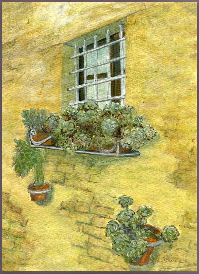 WindWindow-Kasten blüht Bühnenmalerei mit rustikale Ziegelstein-Suhle-Kasten-Blumen-Bühnenmalerei-rustikaler Backsteinmauer vektor abbildung