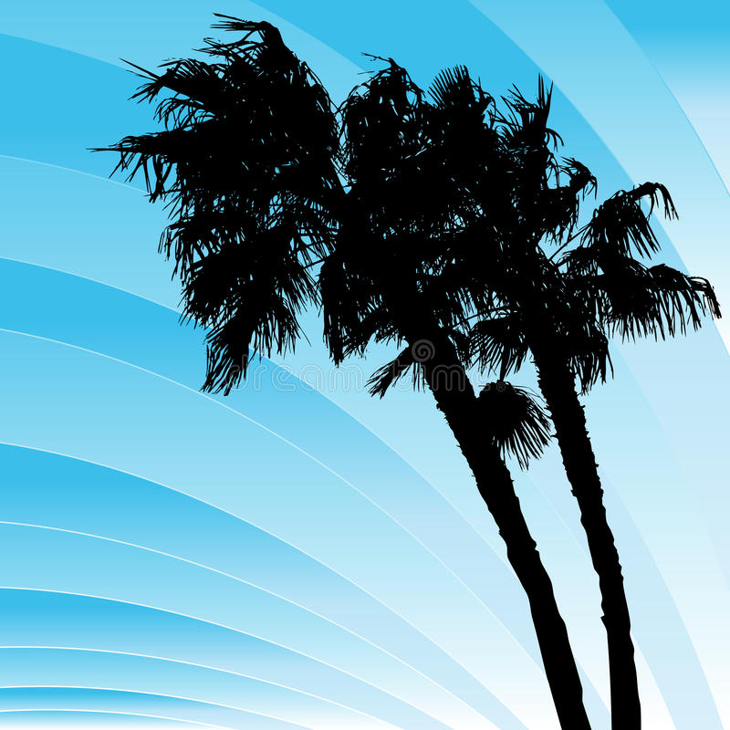 Windy Bending Palm Trees royalty free illustration