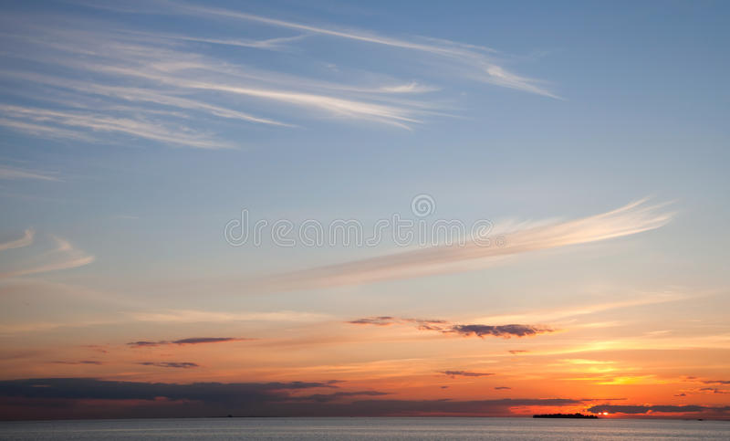 Windy Clouds At The Sunset Royalty Free Stock Photography
