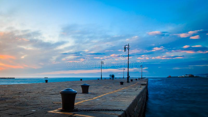 Windy day in the city of Trieste. A cold and windy day in the port of Trieste, Italy stock photo
