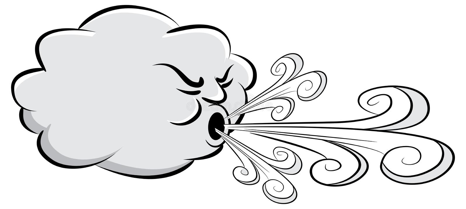 windy day cloud blowing wind stock vector illustration of wind rh dreamstime com clipart of windy cloud windy clip art free