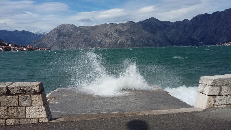 Windy day in Kotor royalty free stock photo