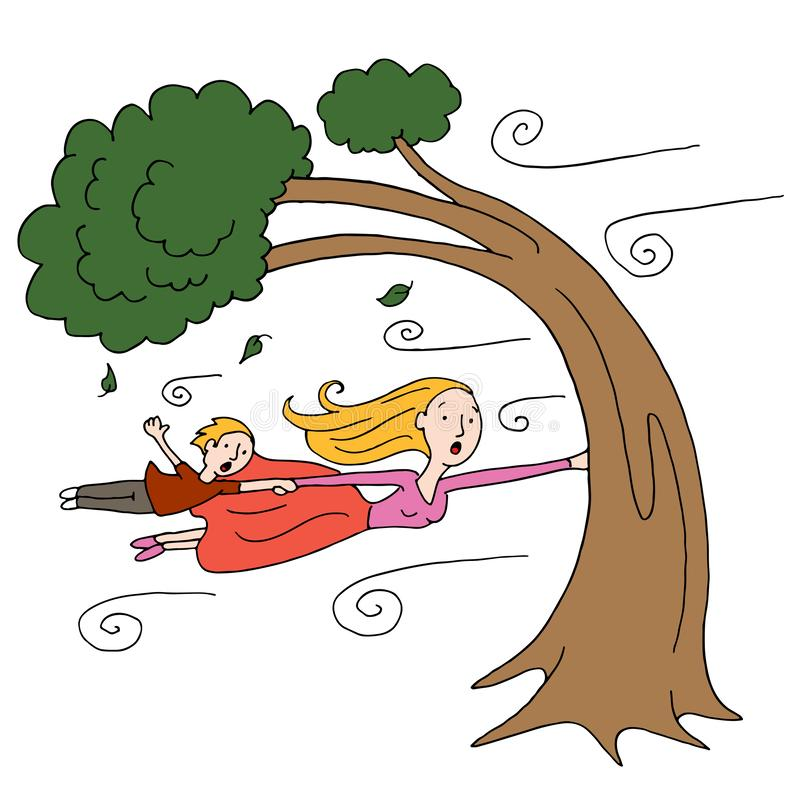 Windy Day Mother and Child Holding Onto a Tree. An image of a windy day with mother and child clinging to a tree stock illustration