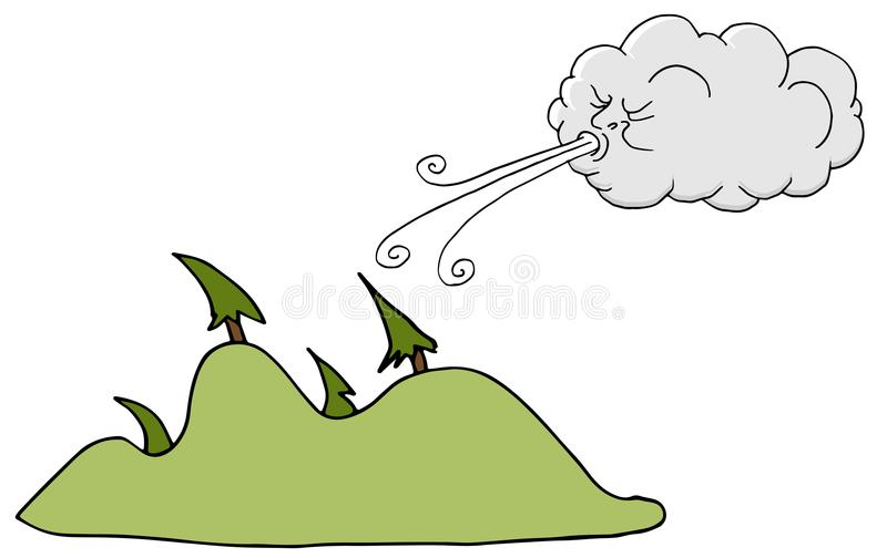 Windy Day Trees and Cloud Blowing Wind. An image of a Windy Day Trees and Cloud Blowing Wind cartoon stock illustration